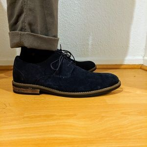 Navy Suede Derby shoes by Bruno Marc